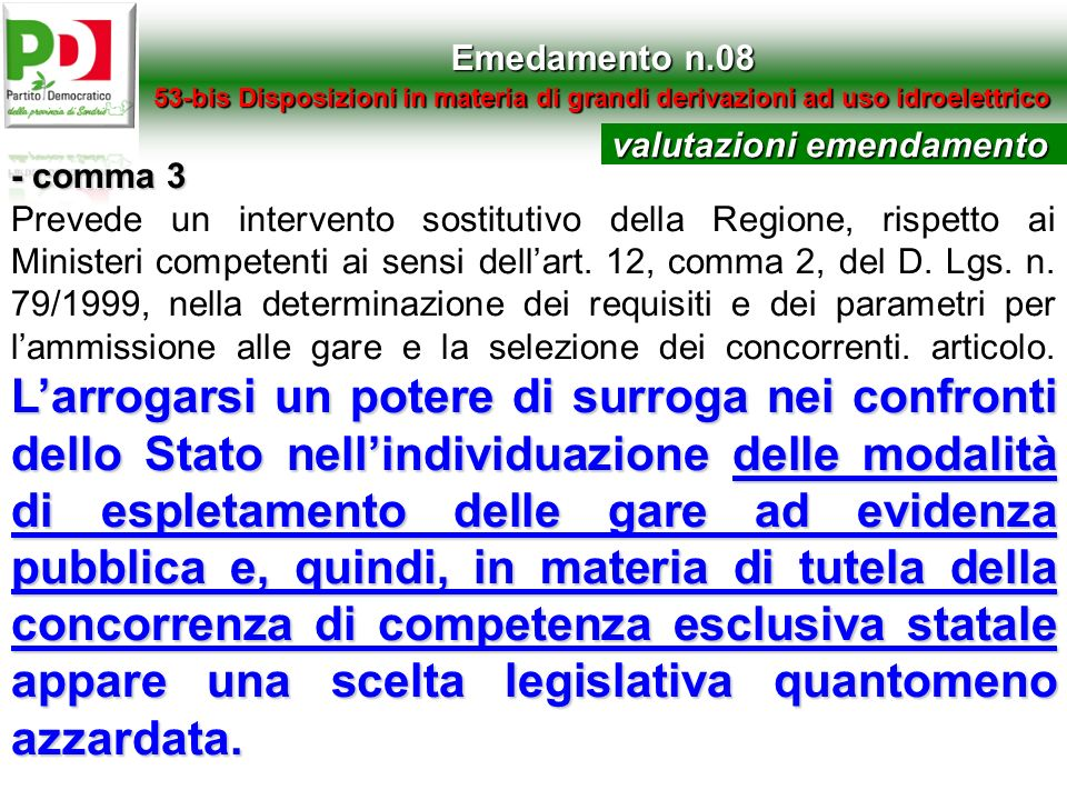 valutazioni emendamento - comma 3