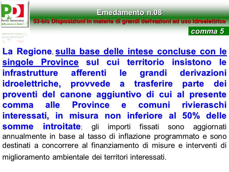 Emedamento n.08 53-bis Disposizioni in materia di grandi derivazioni ad uso idroelettrico. comma 5.