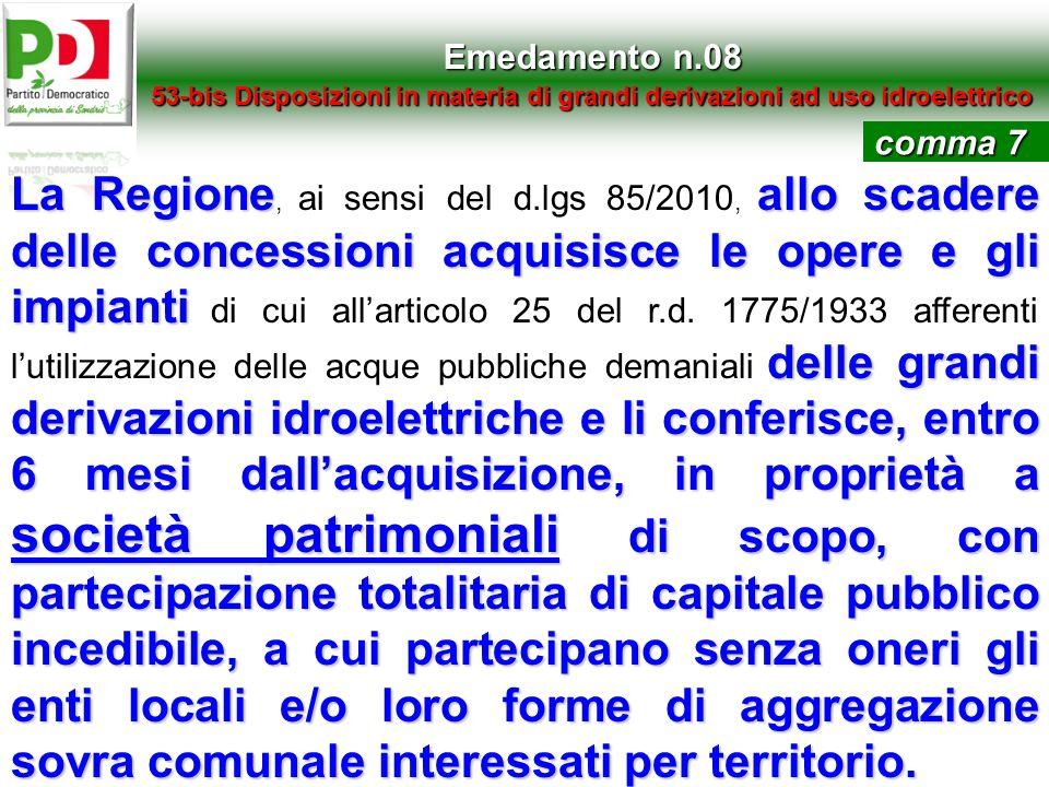 Emedamento n.0853-bis Disposizioni in materia di grandi derivazioni ad uso idroelettrico. comma 7.