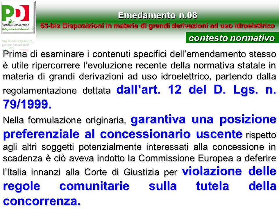 Emedamento n.08 contesto normativo