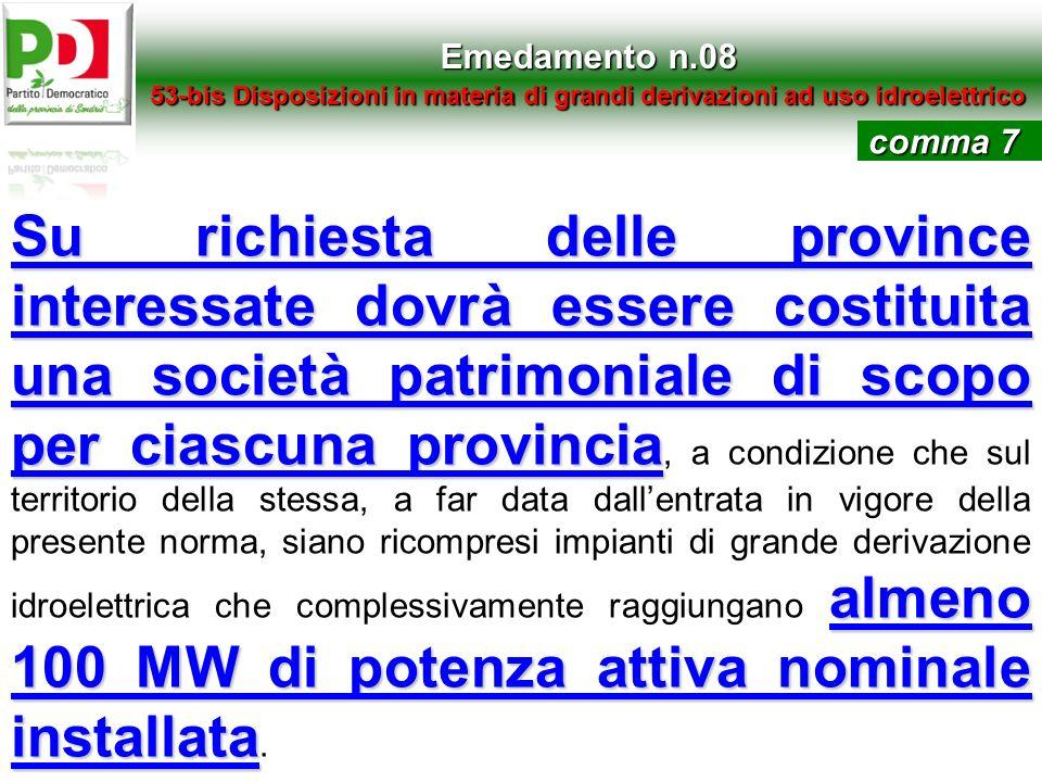 Emedamento n.08 53-bis Disposizioni in materia di grandi derivazioni ad uso idroelettrico. comma 7.