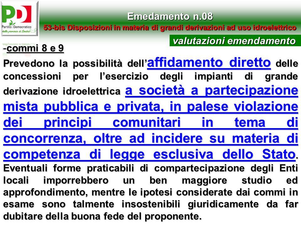 valutazioni emendamento commi 8 e 9