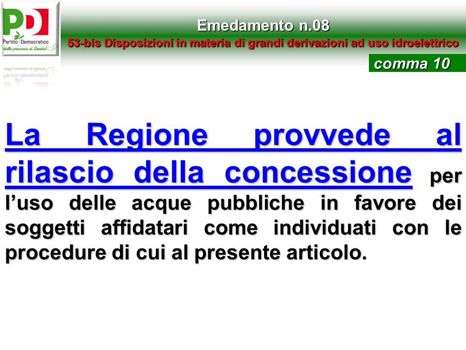 Emedamento n.0853-bis Disposizioni in materia di grandi derivazioni ad uso idroelettrico. comma 10.
