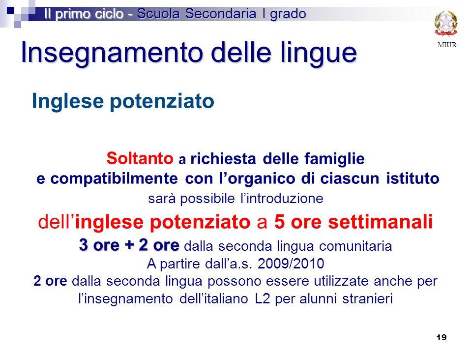 3 ore + 2 ore dalla seconda lingua comunitaria