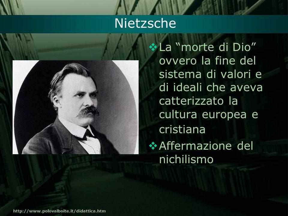Nietzsche La morte di Dio ovvero la fine del sistema di valori e di ideali che aveva catterizzato la cultura europea e cristiana.
