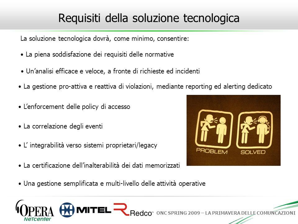 Requisiti della soluzione tecnologica