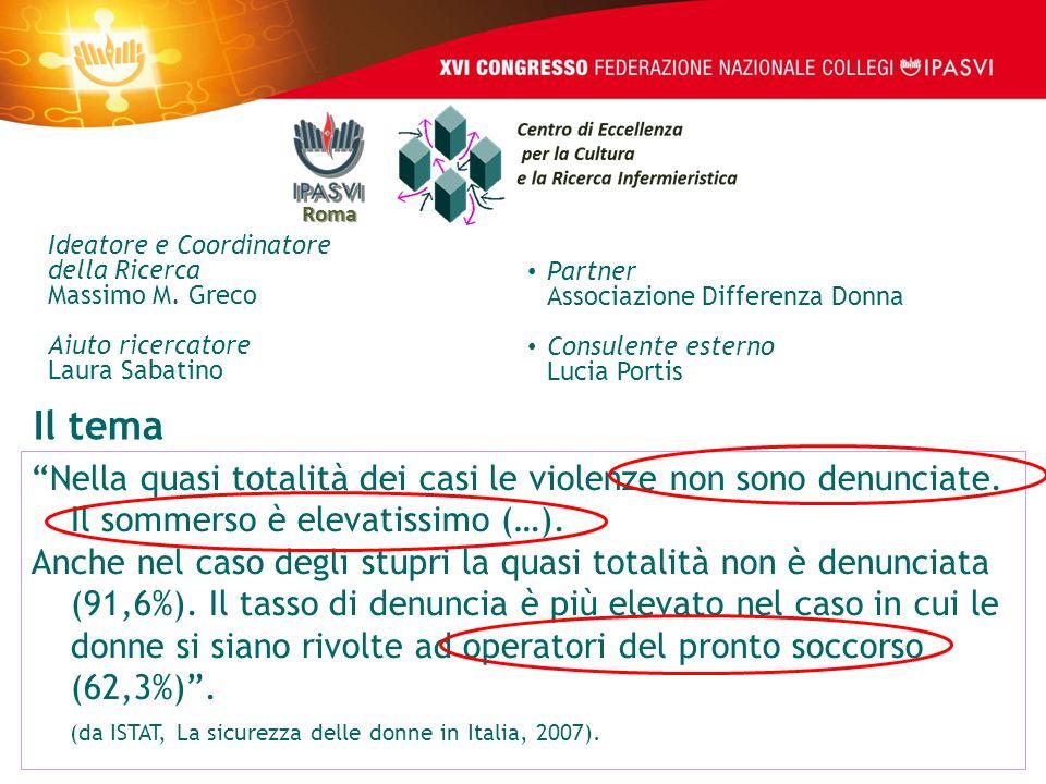 Roma Ideatore e Coordinatore. della Ricerca Massimo M. Greco. Aiuto ricercatore Laura Sabatino. Partner Associazione Differenza Donna.