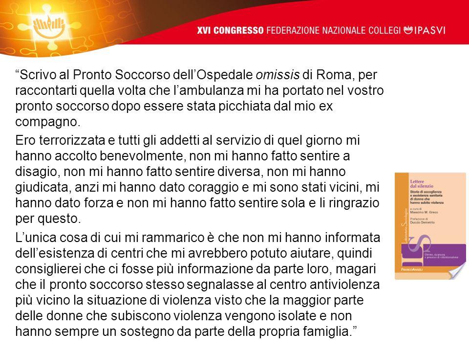 Scrivo al Pronto Soccorso dell'Ospedale omissis di Roma, per raccontarti quella volta che l'ambulanza mi ha portato nel vostro pronto soccorso dopo essere stata picchiata dal mio ex compagno.