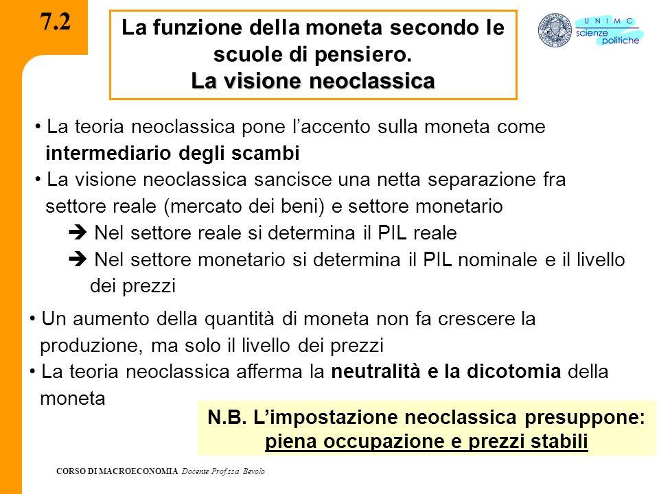 7.2 La visione neoclassica