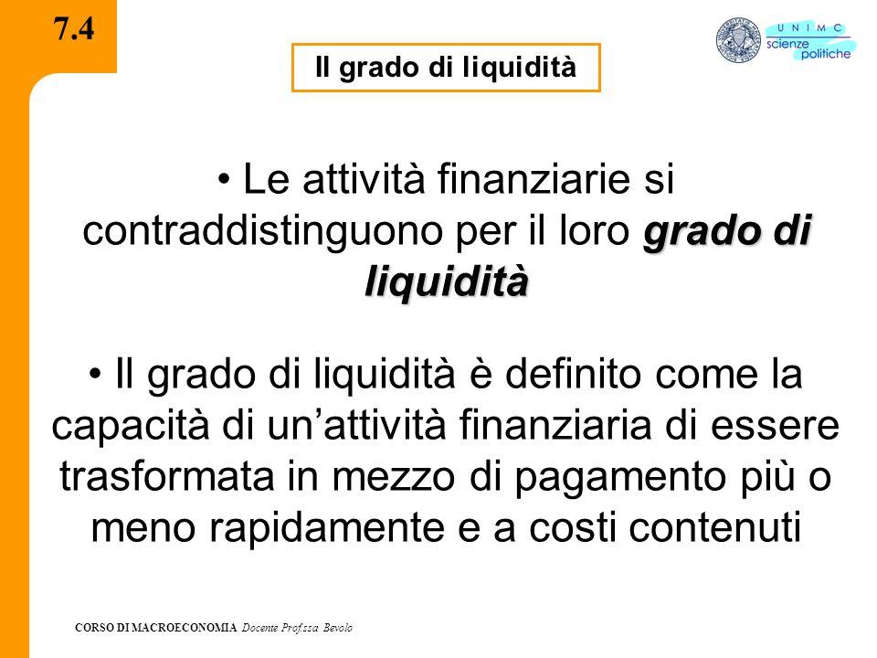 7.4 Il grado di liquidità. Le attività finanziarie si contraddistinguono per il loro grado di liquidità.