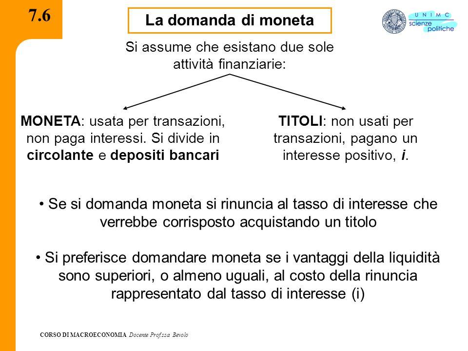 7.6 La domanda di moneta. Si assume che esistano due sole attività finanziarie: