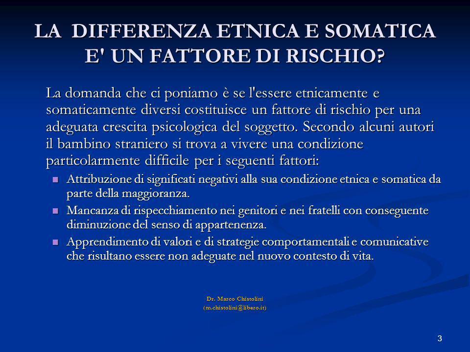 LA DIFFERENZA ETNICA E SOMATICA E UN FATTORE DI RISCHIO