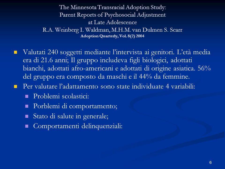 Per valutare l'adattamento sono state individuate 4 variabili: