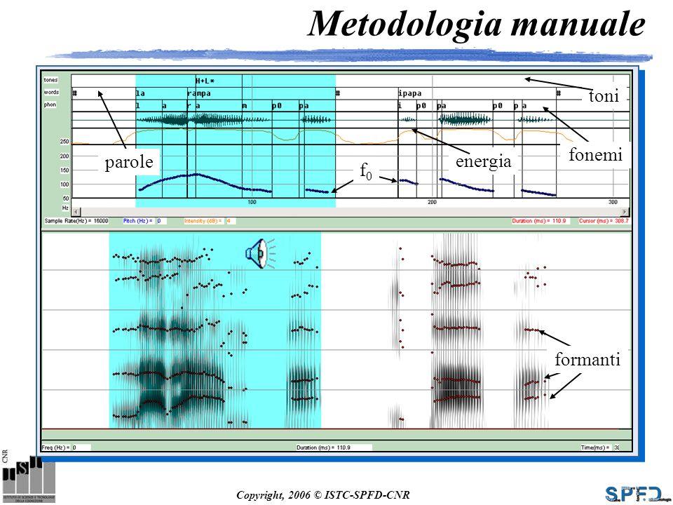 Metodologia manuale toni fonemi parole energia f0 formanti