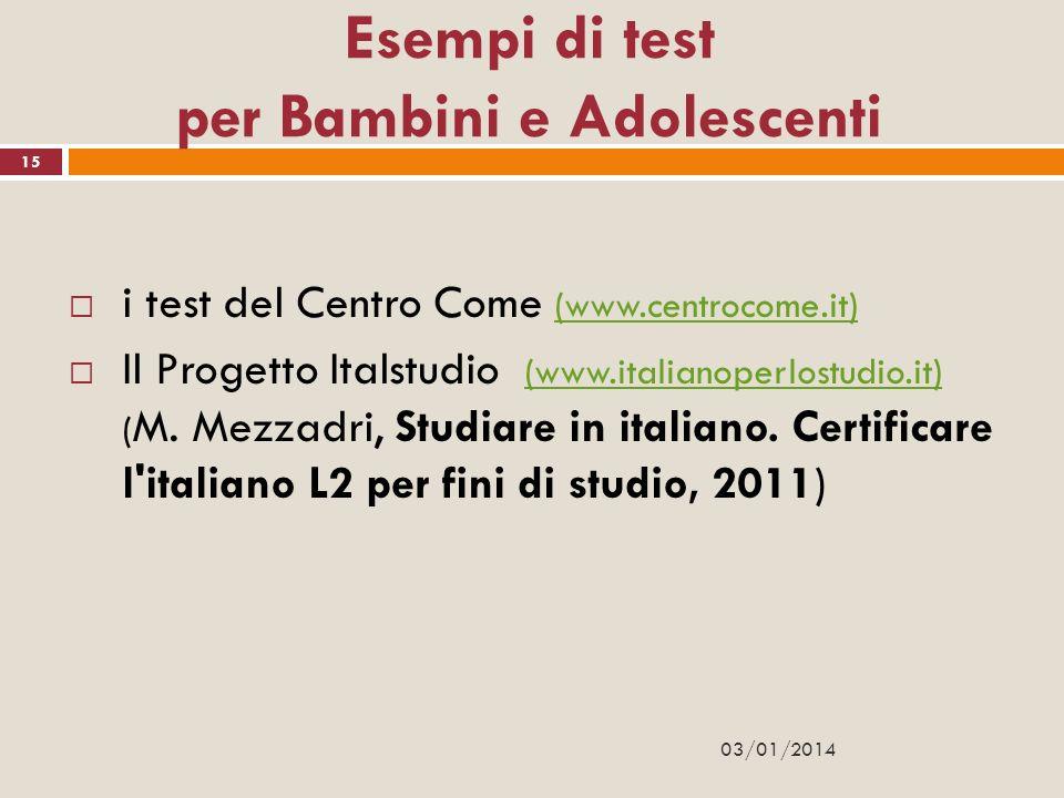 Esempi di test per Bambini e Adolescenti