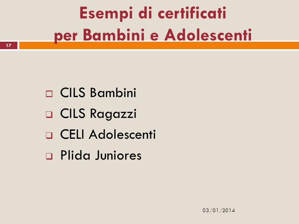 Esempi di certificati per Bambini e Adolescenti