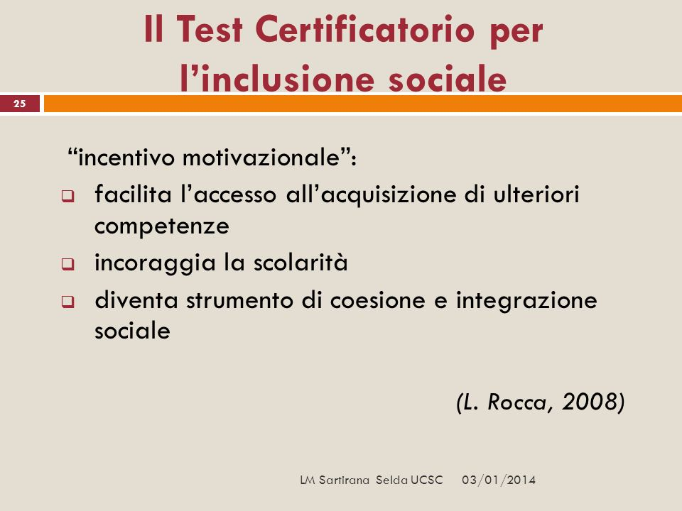 Il Test Certificatorio per l'inclusione sociale