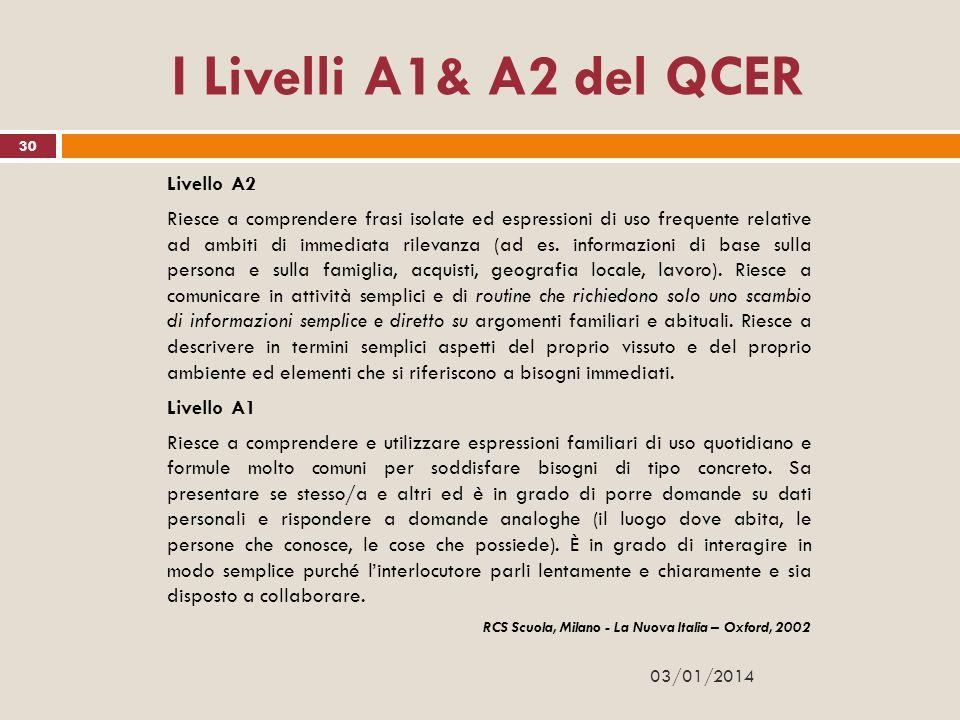I Livelli A1& A2 del QCER Livello A2