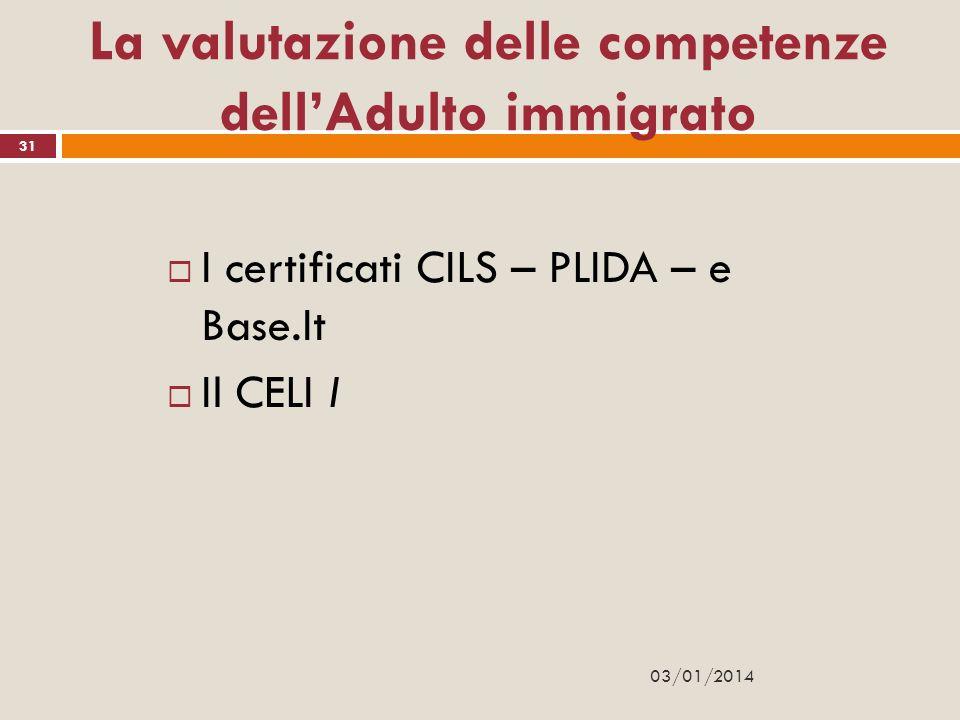 La valutazione delle competenze dell'Adulto immigrato