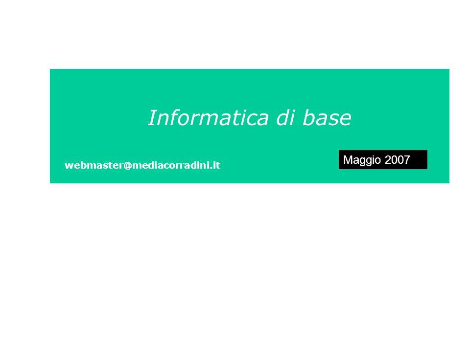 Informatica di base Maggio 2007 webmaster@mediacorradini.it