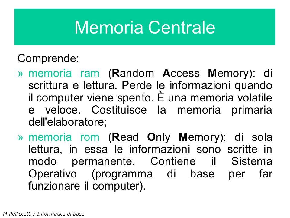 Memoria Centrale Comprende: