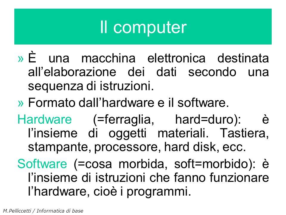 Il computerÈ una macchina elettronica destinata all'elaborazione dei dati secondo una sequenza di istruzioni.