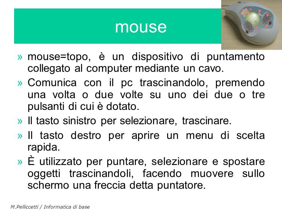 mouse mouse=topo, è un dispositivo di puntamento collegato al computer mediante un cavo.