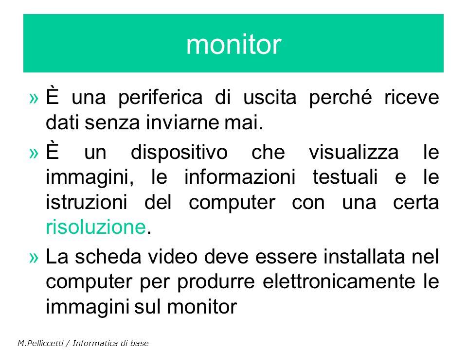 monitor È una periferica di uscita perché riceve dati senza inviarne mai.