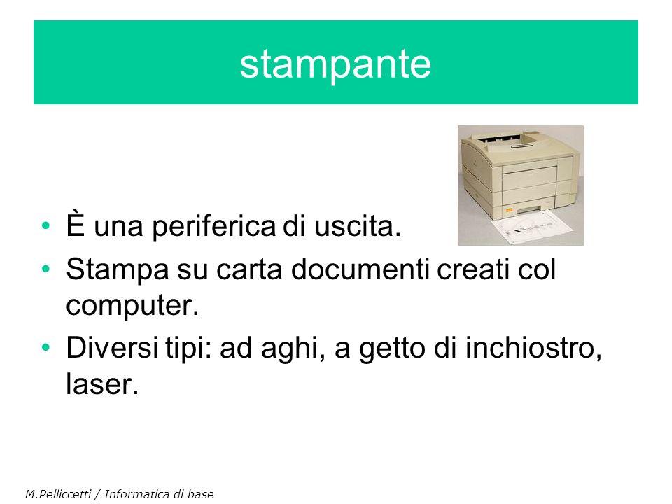 stampante È una periferica di uscita.