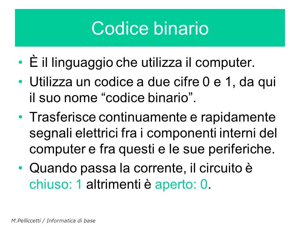 Codice binario È il linguaggio che utilizza il computer.