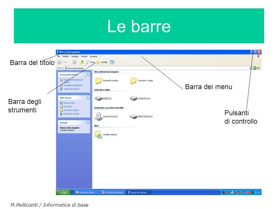 Le barre Barra del titolo Barra dei menu Barra degli strumenti