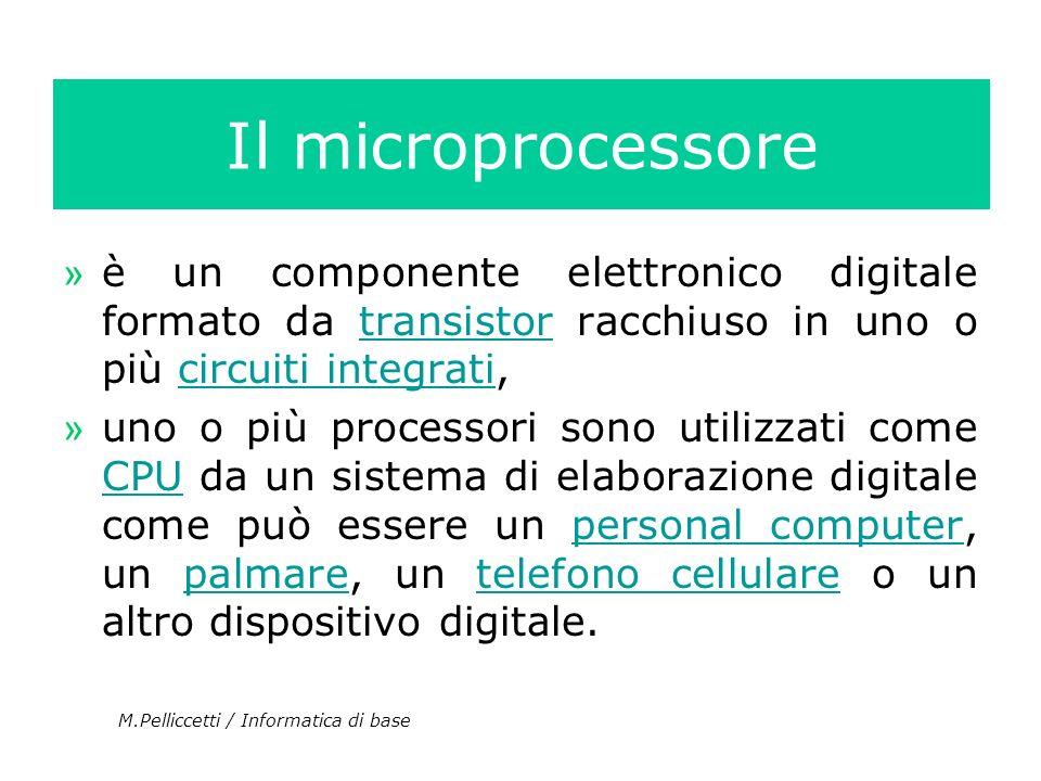 Il microprocessoreè un componente elettronico digitale formato da transistor racchiuso in uno o più circuiti integrati,