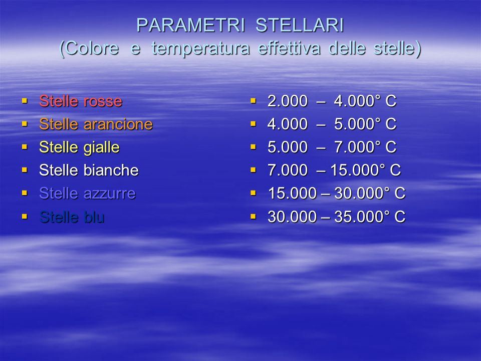 PARAMETRI STELLARI (Colore e temperatura effettiva delle stelle)