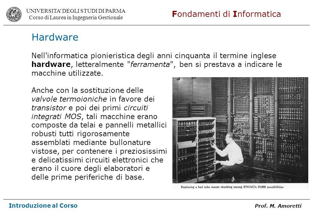 Hardware Nell informatica pionieristica degli anni cinquanta il termine inglese. hardware, letteralmente ferramenta , ben si prestava a indicare le.