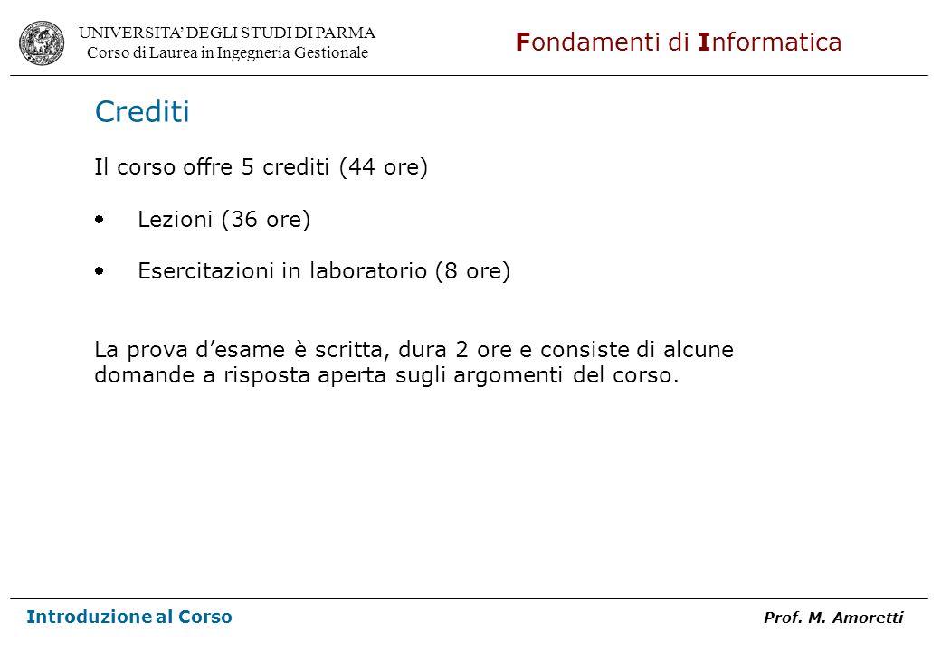 Crediti Il corso offre 5 crediti (44 ore) Lezioni (36 ore)