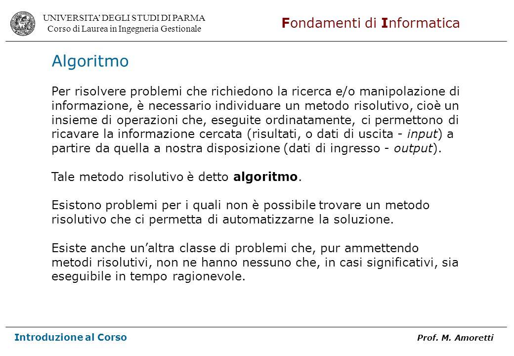 Algoritmo Per risolvere problemi che richiedono la ricerca e/o manipolazione di.