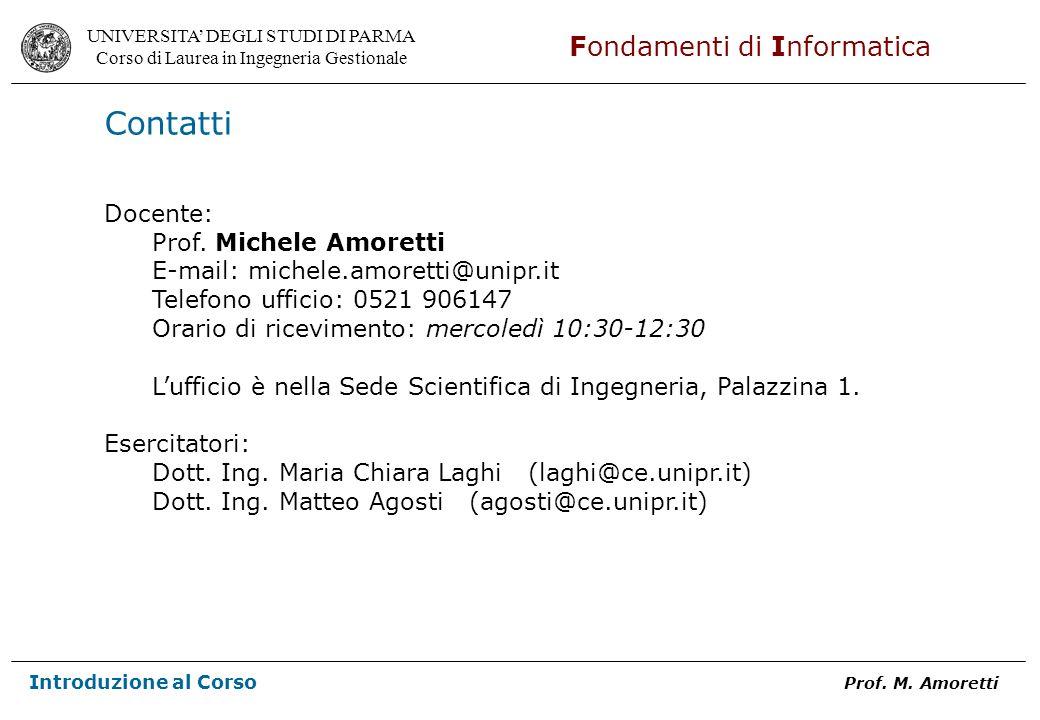Contatti Docente: Prof. Michele Amoretti