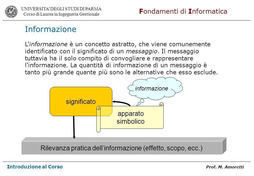 Rilevanza pratica dell'informazione (effetto, scopo, ecc.)