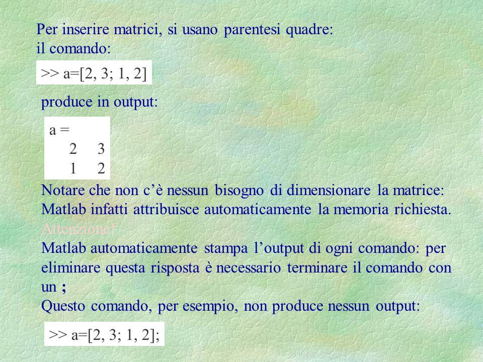 Per inserire matrici, si usano parentesi quadre: