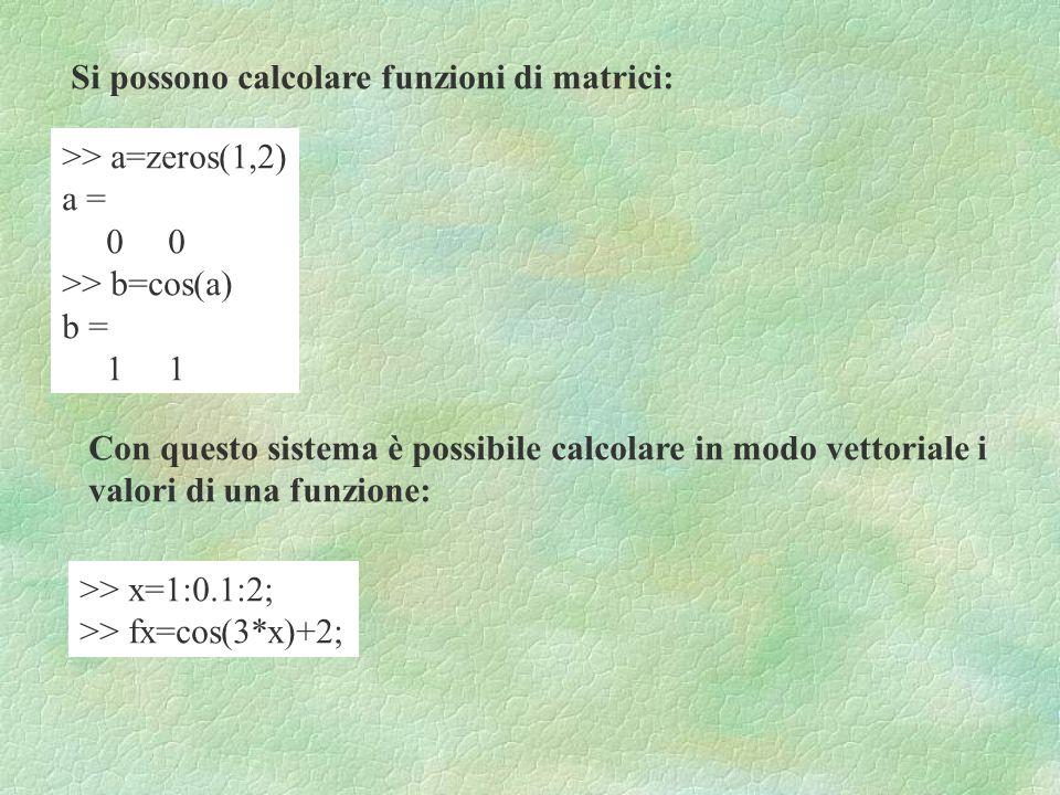 Si possono calcolare funzioni di matrici: