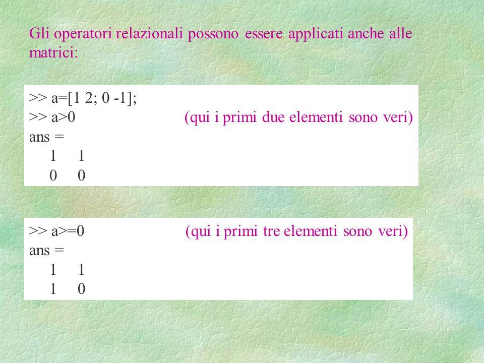 Gli operatori relazionali possono essere applicati anche alle matrici: