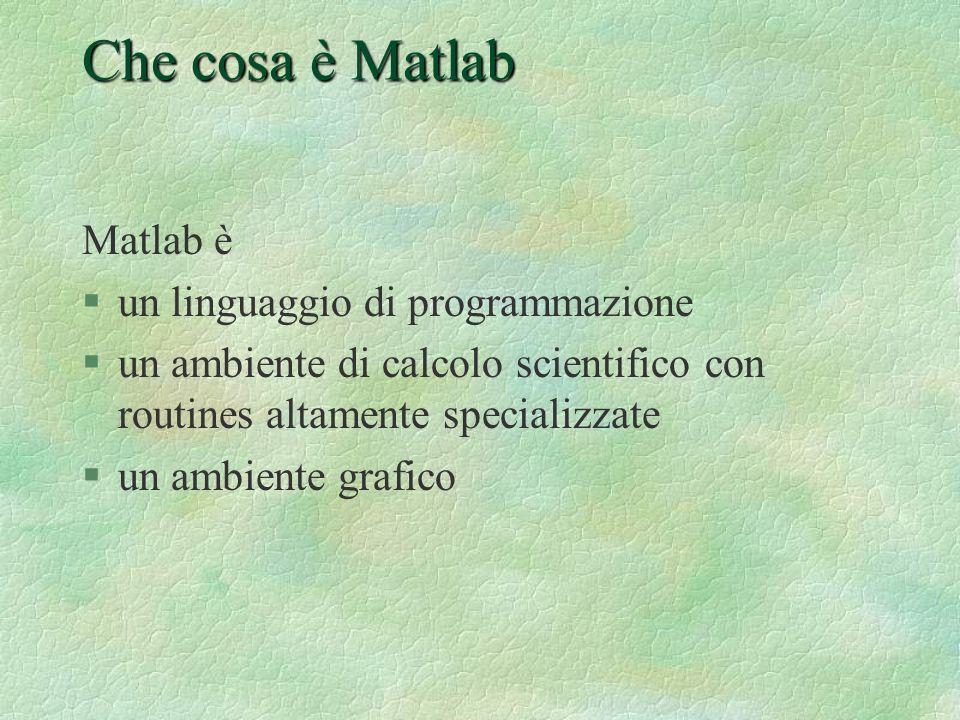 Che cosa è Matlab Matlab è un linguaggio di programmazione