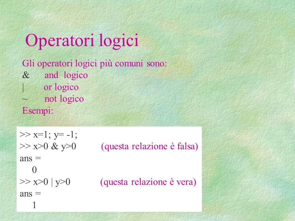 Operatori logici Gli operatori logici più comuni sono: & and logico