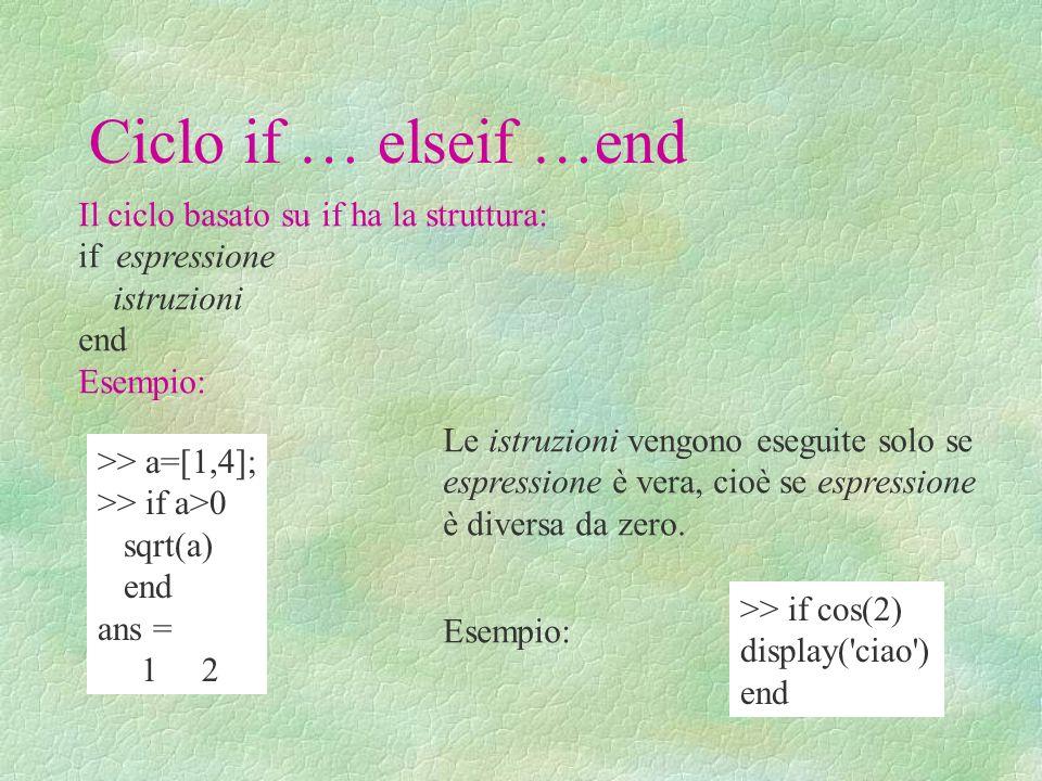 Ciclo if … elseif …end Il ciclo basato su if ha la struttura: