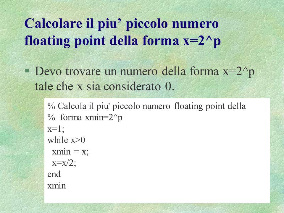 Calcolare il piu' piccolo numero floating point della forma x=2^p