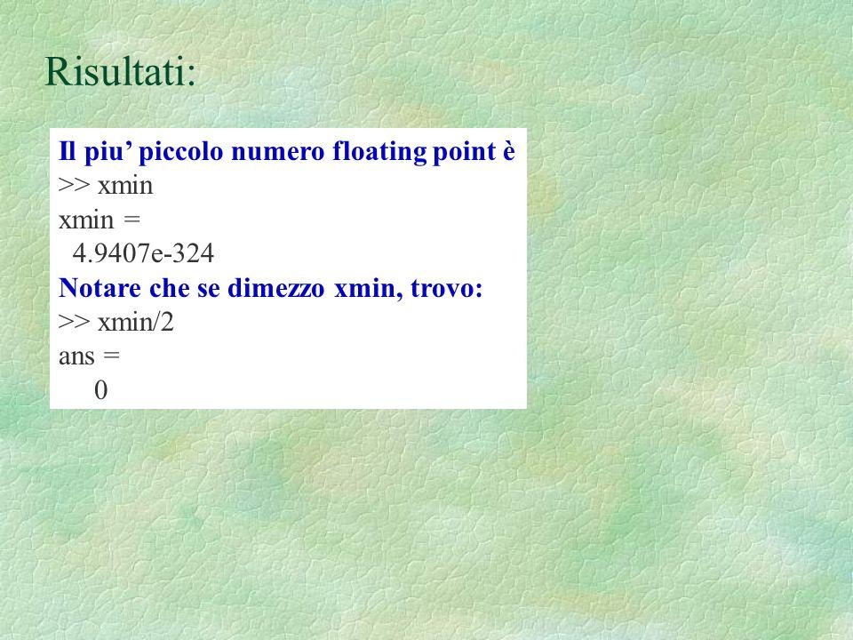 Risultati: Il piu' piccolo numero floating point è >> xmin