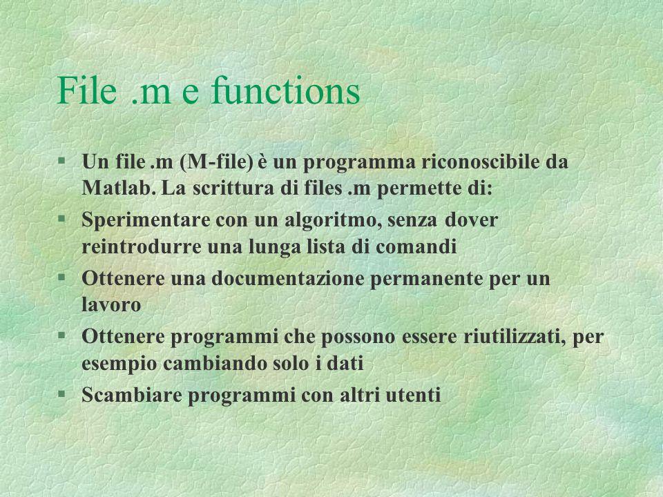 File .m e functions Un file .m (M-file) è un programma riconoscibile da Matlab. La scrittura di files .m permette di: