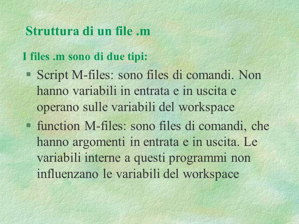 Struttura di un file .m I files .m sono di due tipi: