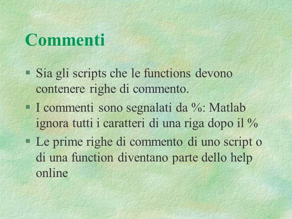 Commenti Sia gli scripts che le functions devono contenere righe di commento.