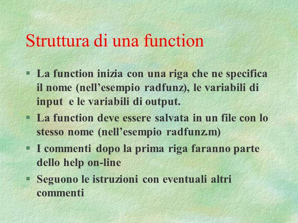 Struttura di una function